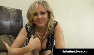 Busty Cougar Julia Ann Uses Her Hands, Big Tits & Feet To Milk A Hard Cock!