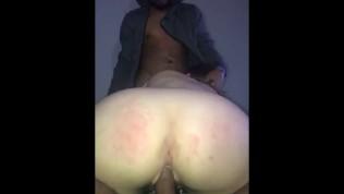 White slut lets 2 black dicks cum all over her