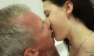 Busty teen gets her pussy fucked by grandpa her big tits are perfect