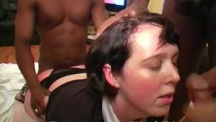 Fat white girl assfucked hard by blacks