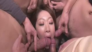 Multiple Blowjobs Has Rio Kagawa Enjoying A Bukkake – More at Japanesemamas.com