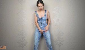 Amateur pisses in jeans, denim overalls – CatherineRain