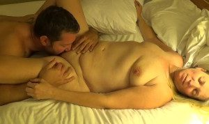 Blonde MILF shaved pussy licked to orgasm
