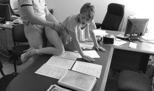Boss fucks my wife at the office on hidden cam. This secretary is real slut