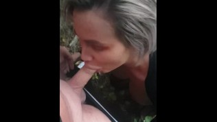 Hot blowjob, and sex with this stunning MILF Cristina Cielo out in the forest