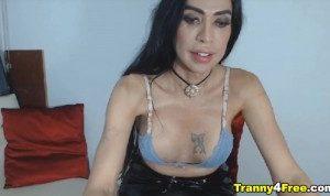Busty Colombian Tranny Jerks Her Dick