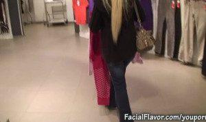 Cindy Dollar facial cumshot in changing room