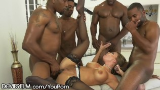 DevilsFilm Britney Amber's 4 on 1 BBC Gangbang and Jizz Shower
