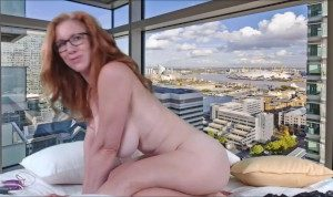 Redhead housewife with natural big tits