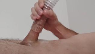 Slide oiled big dick in masturbator and moan hard